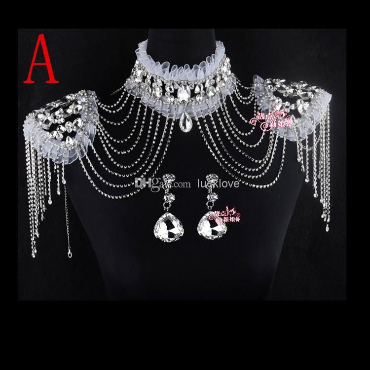 New Style Epaulet Jacket Crystal Jewelry Necklace Earrings Sets Wedding Bridal Dresses Dress Gown, Free shipping, $63.03/Piece   DHgate Mobile