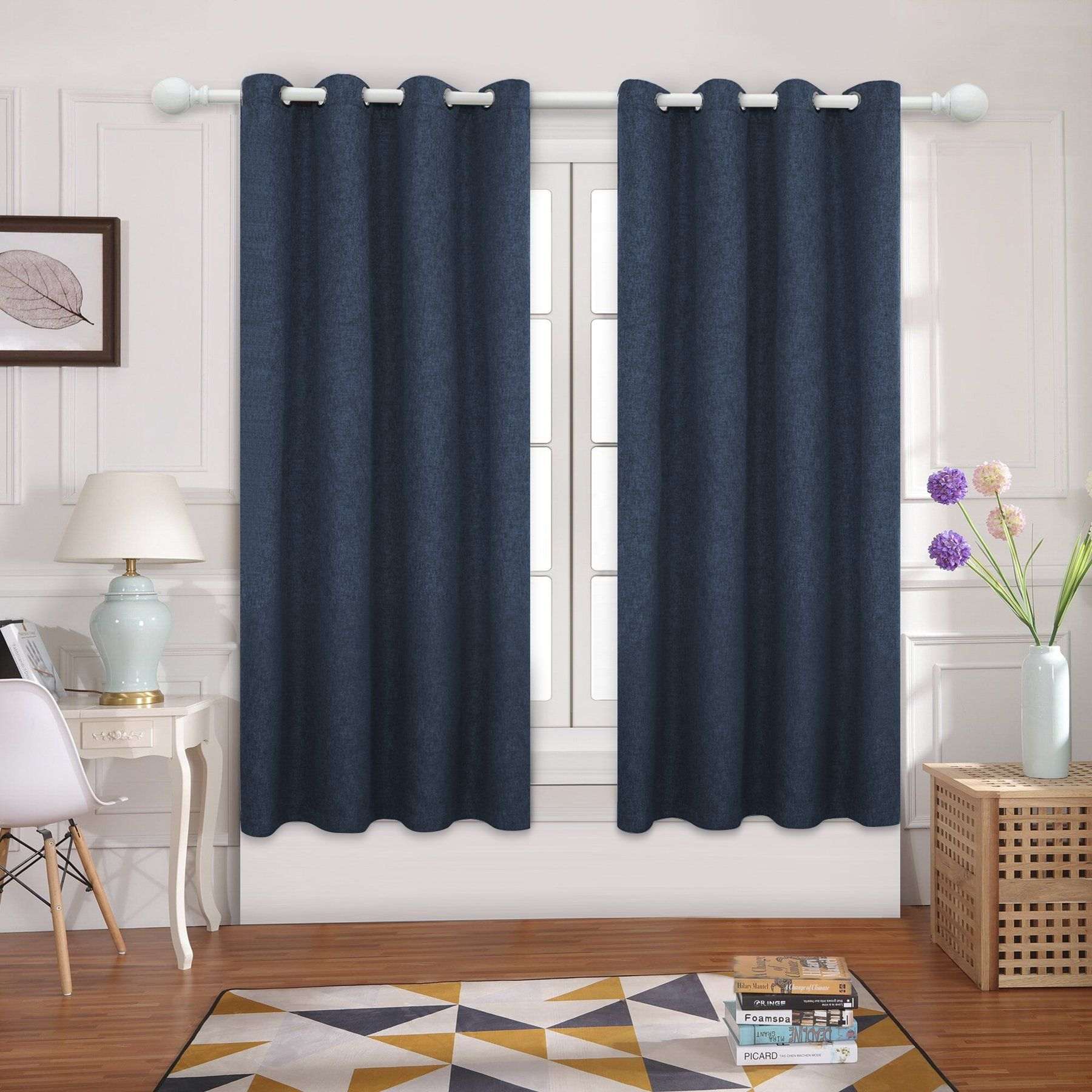 Joywell Blackout Drapes Thermal Insulated Linen Grommet Window Curtains For Living Room And Bedroom In 2 Panels Nav Blackout Drapes Cool Curtains Kids Curtains