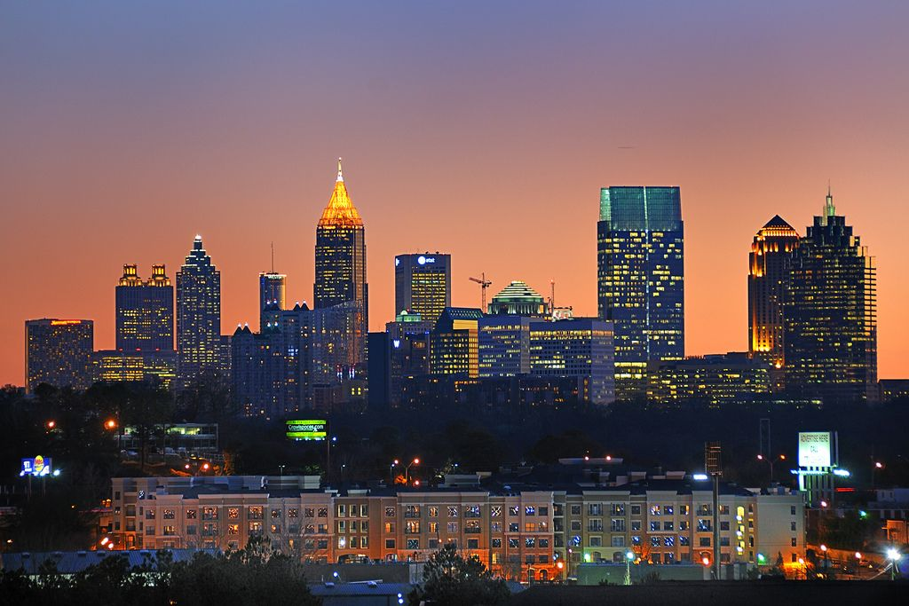 Downtown Atlanta at sunset The good place, Downtown