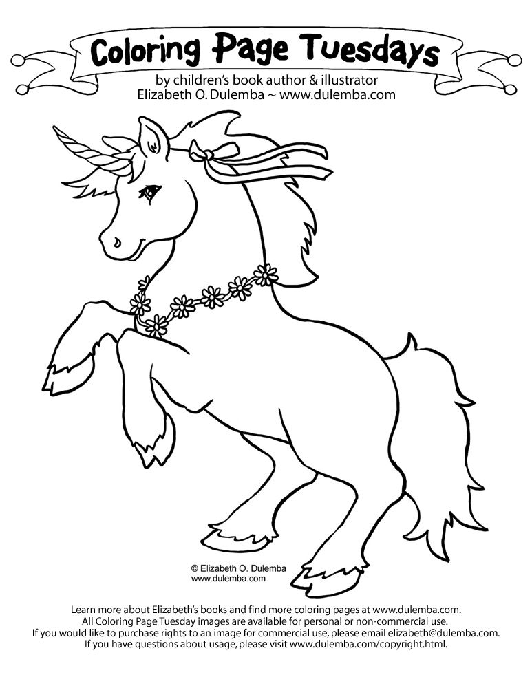 Dulemba Coloring Page Tuesday Unicorn Unicorn Pictures To Color