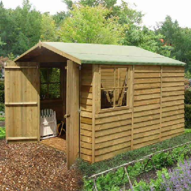 10 X 7 2 97m X 2 05m Shire Overlap Apex Garden Shed With Double Doors In 2020 Shed Garden Shed Wooden Sheds
