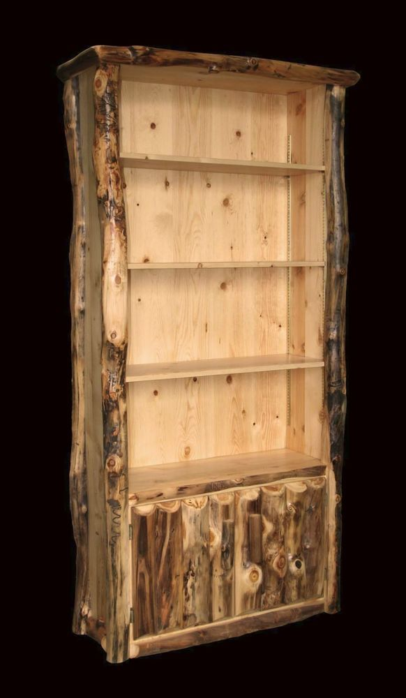 Rustic Log Bookcase Country Western Cabin Wood Office Furniture Decor