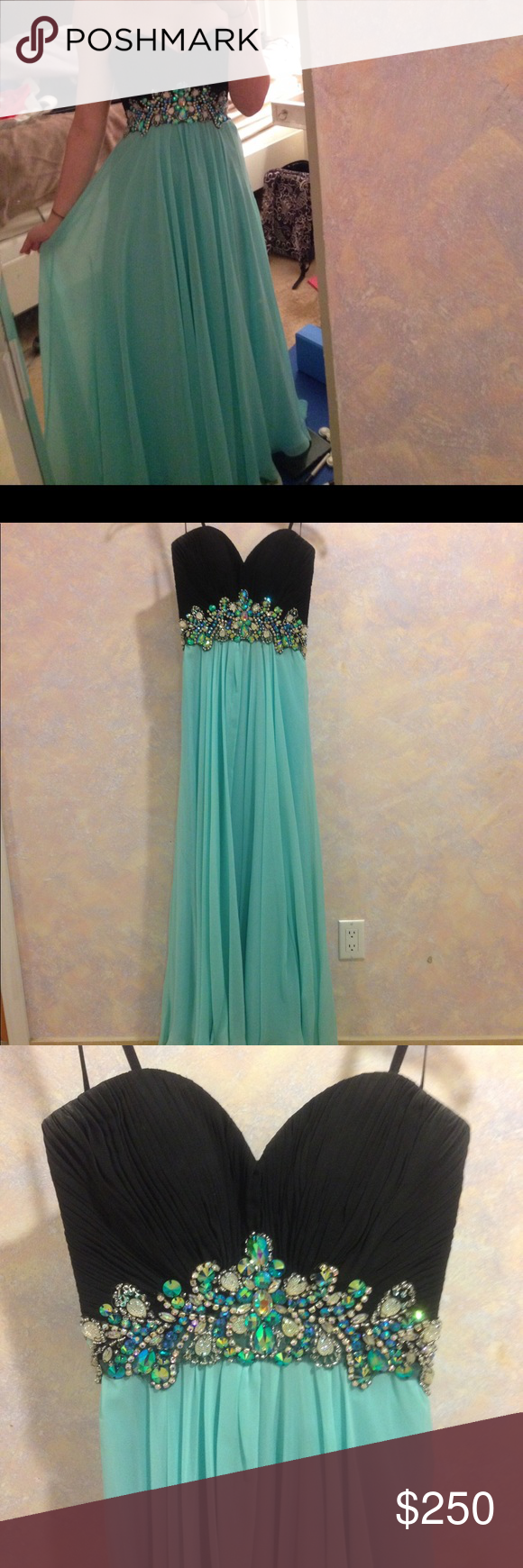 Perfect condition prom dress size blueblack strapless prom
