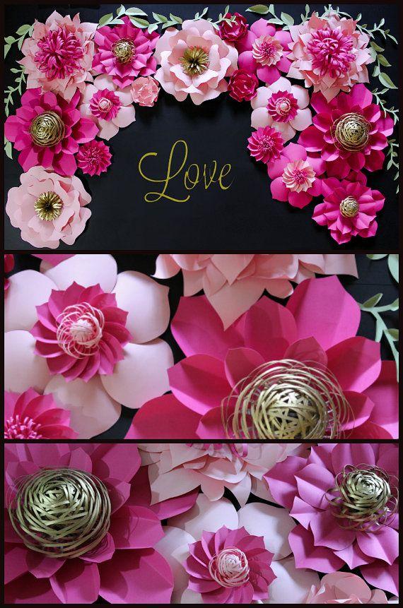 Kate Spade Inspired Paper Flower Backdrop Wedding por APaperEvent