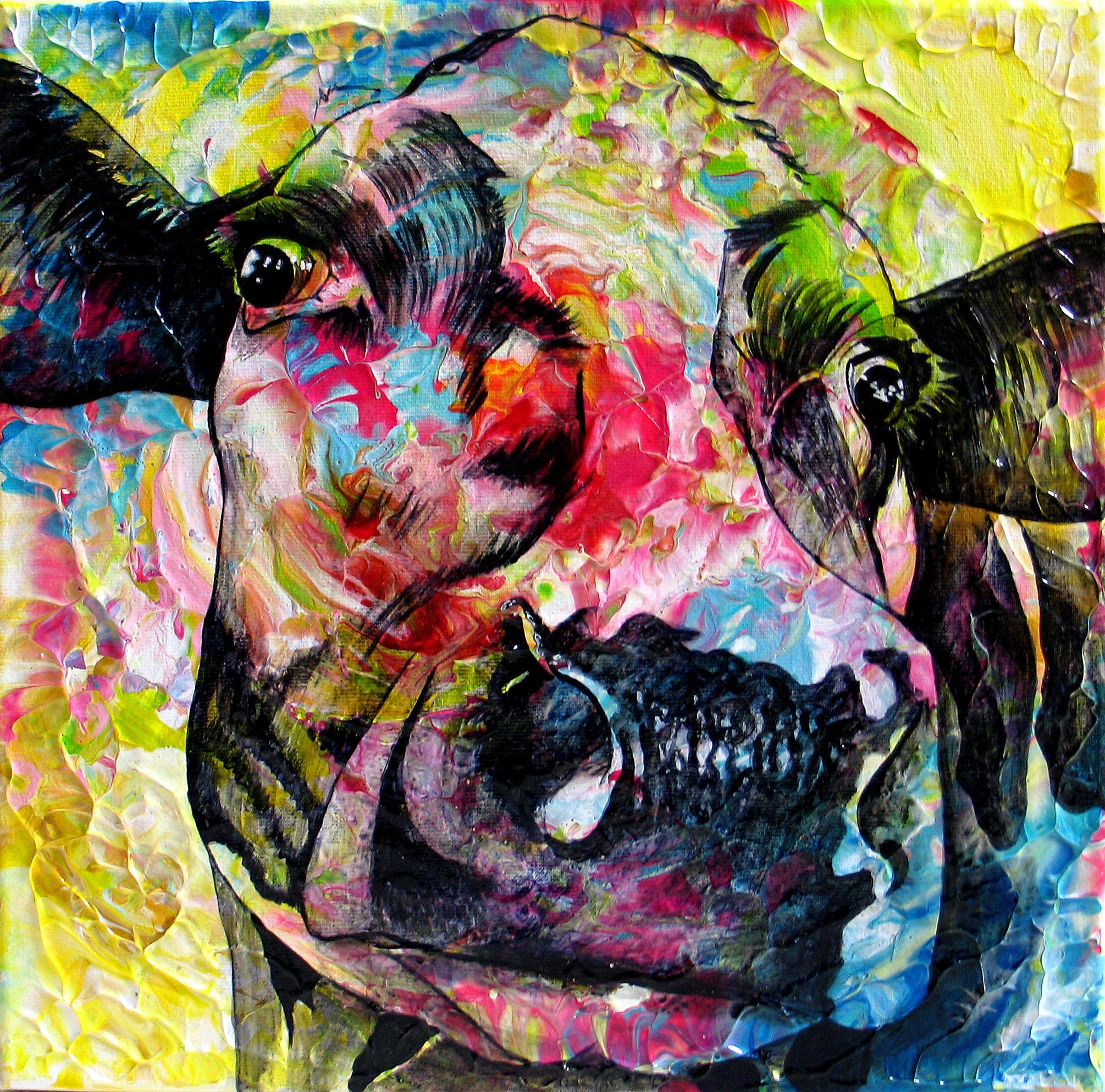 Anita schildert o.a. kleurrijke en unieke koeienschilderijen, het zijn typische werken die je ook van dichtbij, zou moeten bekijken. Alleen dan zie je de vele kleurschakeringen, het reliëf en de vele manieren waarop het licht speelt met de schilderijen. Meer informatie: www.anitaammerlaan.com kleurrijke koeienkunst  koeienkop  koeienschilderij  koeienportret  koeienschilderijen koeienschilder koeschilderij koeienkunstenaar