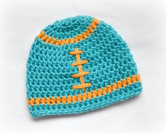1b0a4440e12233 Crochet Baby Football Beanie Newborn to by littlebuttercupbaby ...