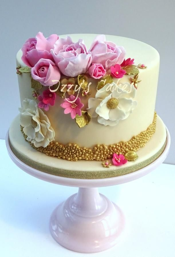 Elegant Pink and Gold Birthday by Izzys Cakes Cakes Cake