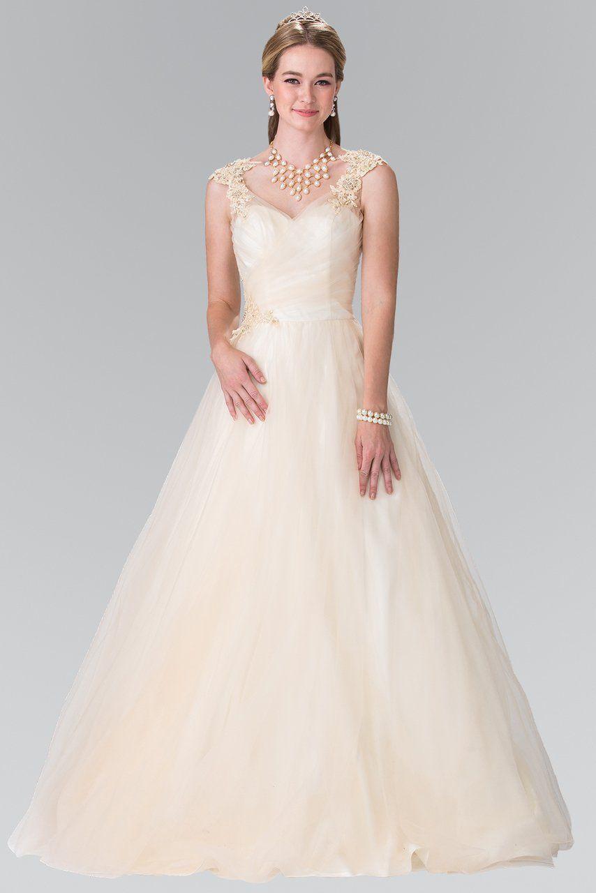 Elizabeth K Bridal   GL20 Embroidered Ruched Bridal Dress in ...