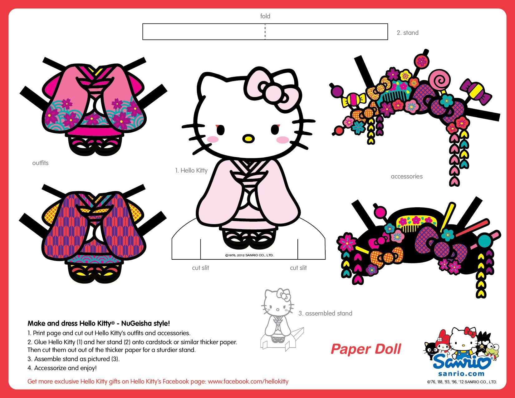 hello kitty cut out template - hello kitty nugeisha version paper doll sanrio