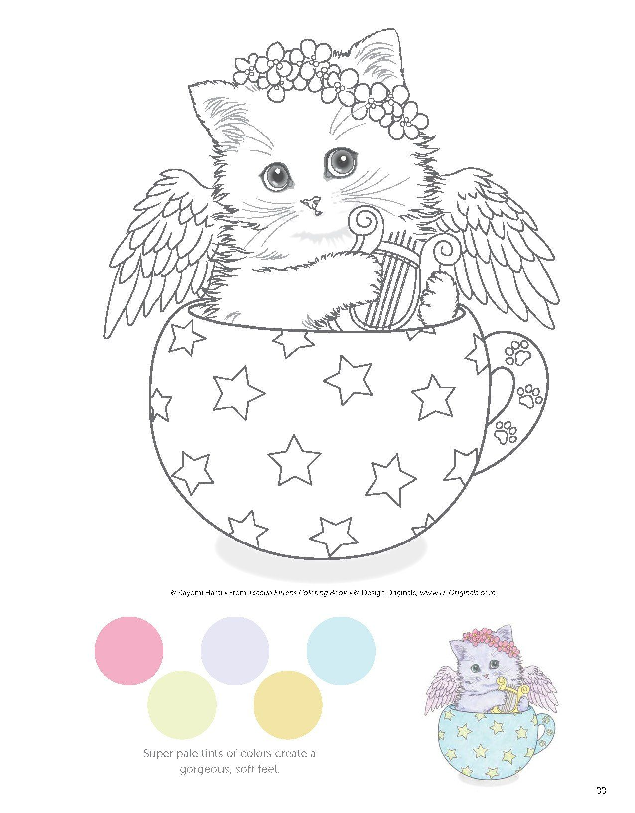 Ausmalbilder Katzen Babys : Teacup Kittens Coloring Book Kayomi Harai 9781497202269 Amazon