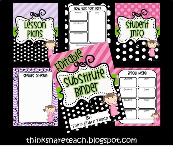 Editable Substitute Binder: Black Polka Dots With Accent