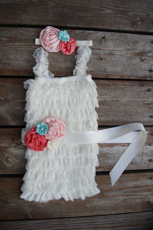 100f7f5c66e Ivory lace romper set. Girls first birthday outfit. Baby lace romper. Baby  girl outfit. Romper set. Petti romper set.1st birthday outfit. by  KadeesKloset on ...