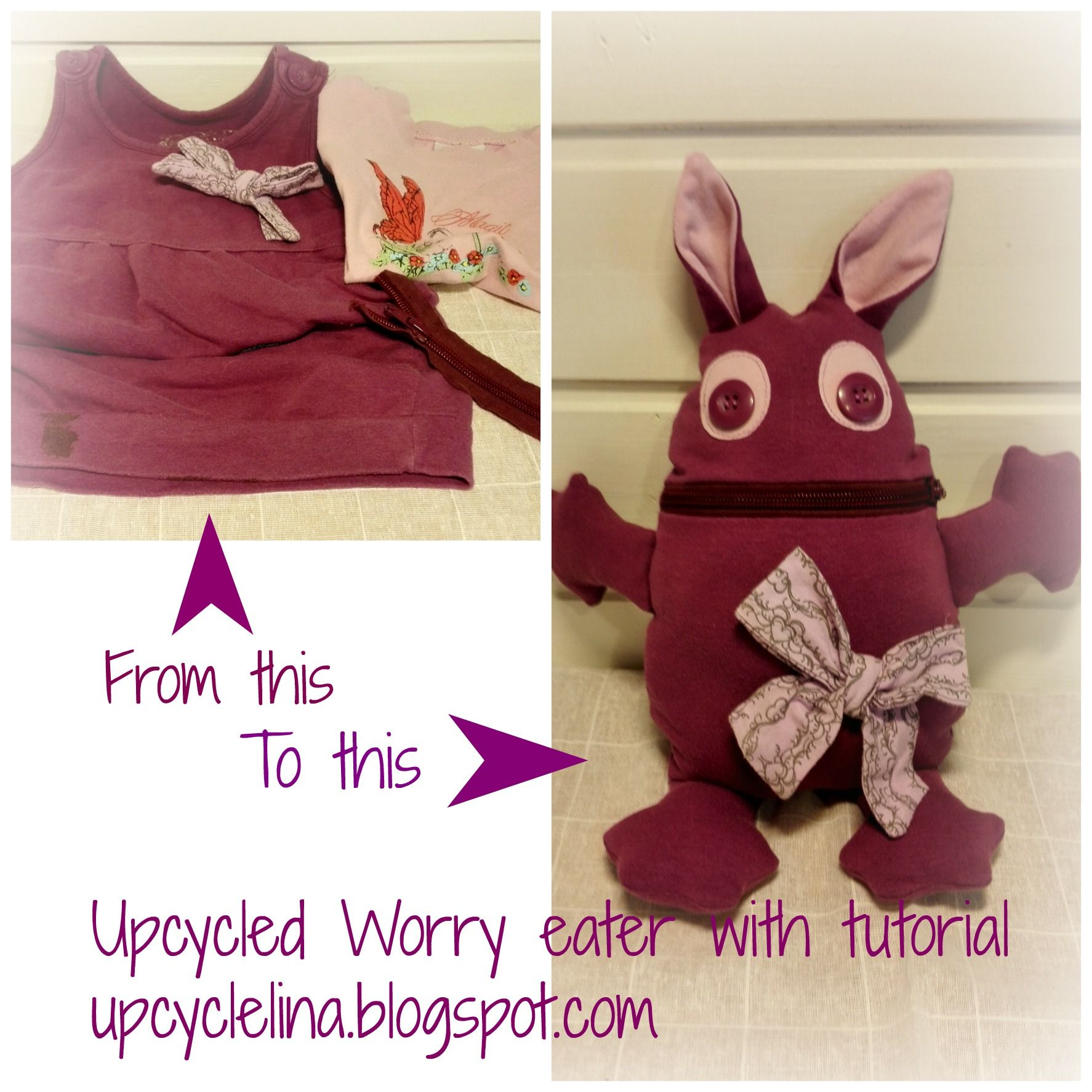 Upcycled old clothes to funny plush toy as known as worry eater, tutorial in the blog.