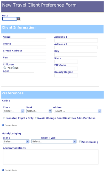 New Travel Client Preference Form  Templates  Travel Agent