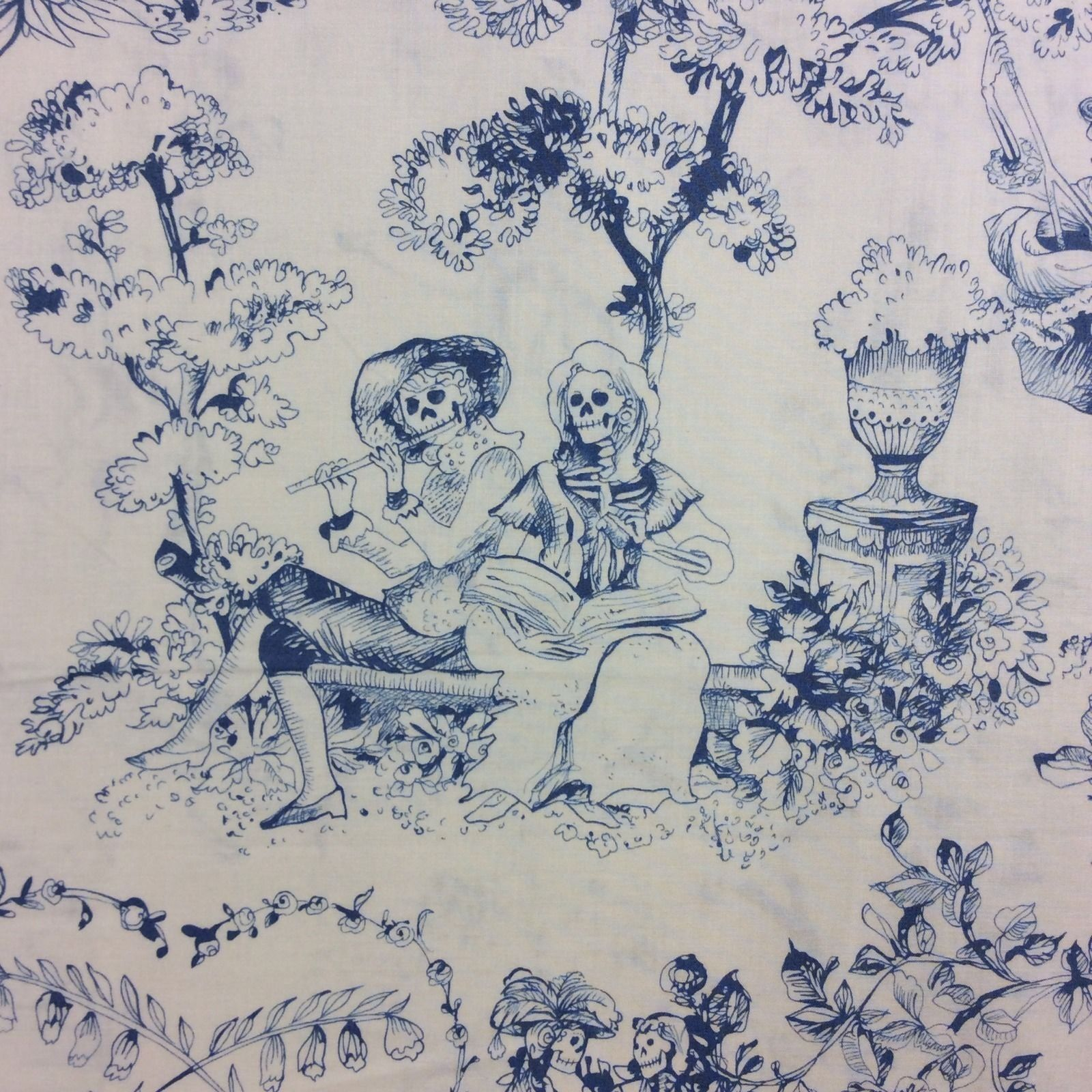 Blue and white toile bedding - Day Of The Dead Toile Blue White Skeleton Toile Day Of The Dead Quilt Cotton