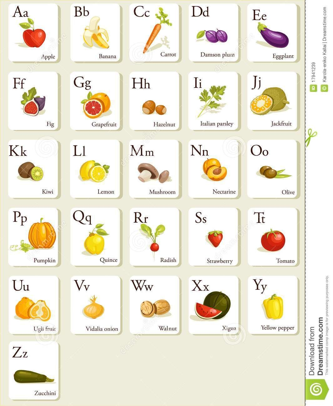 Fruits And Vegetables Alphabet Cards - Download From Over ...