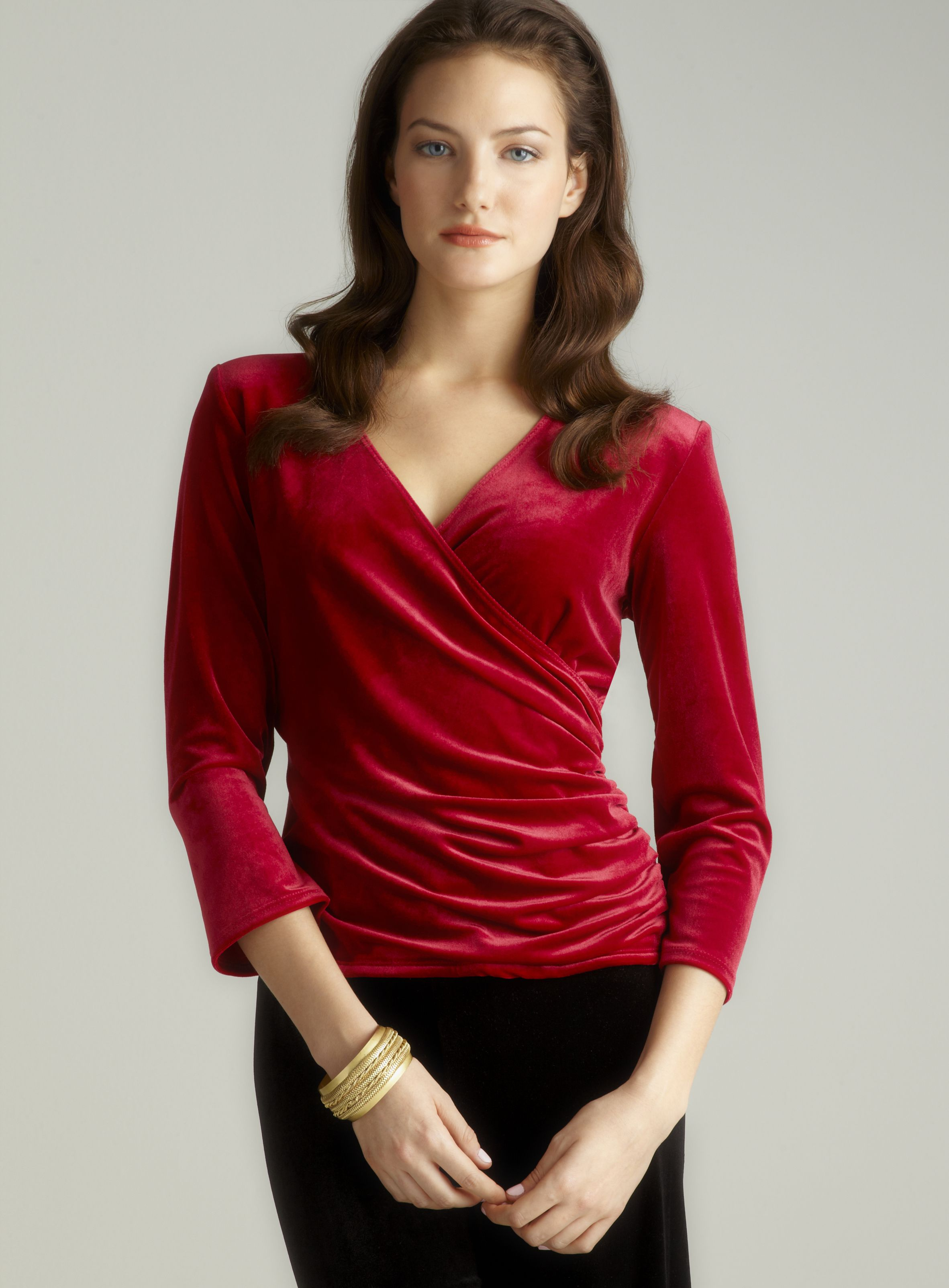 Surplice Velvet Top Women's evening dresses, Fabulous
