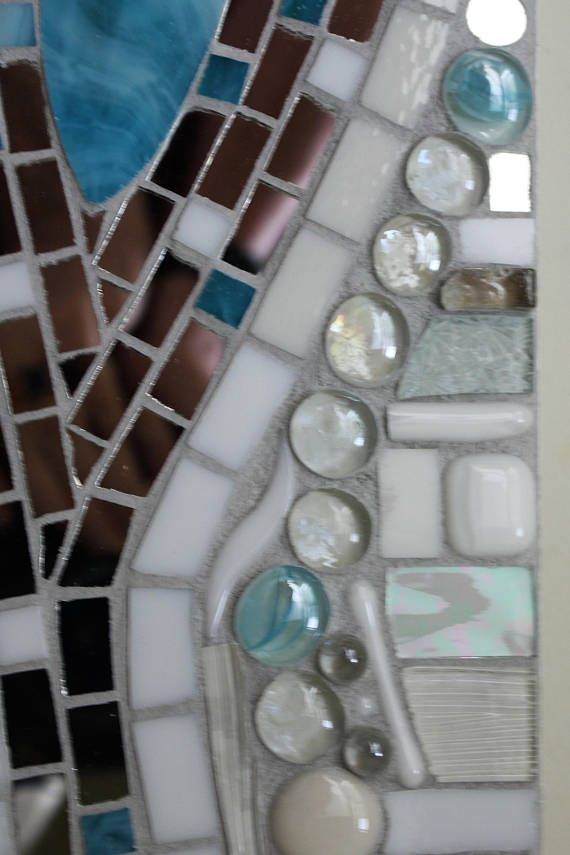 Stained Glass, Mosaic, Abstract, Silver Mirror, Aqua, and White ...
