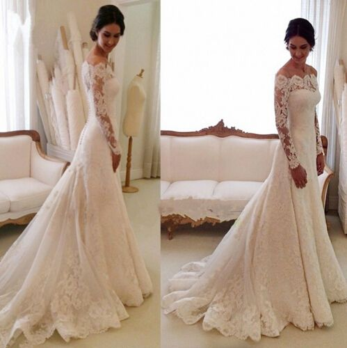 32bd4113e5 2017 Lace Wedding Dresses With Long Sleeves
