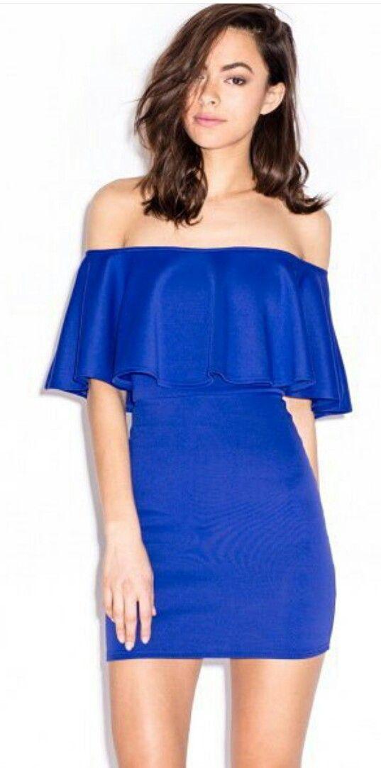 7c0cf42a9 Vestidos Azul corte campesino