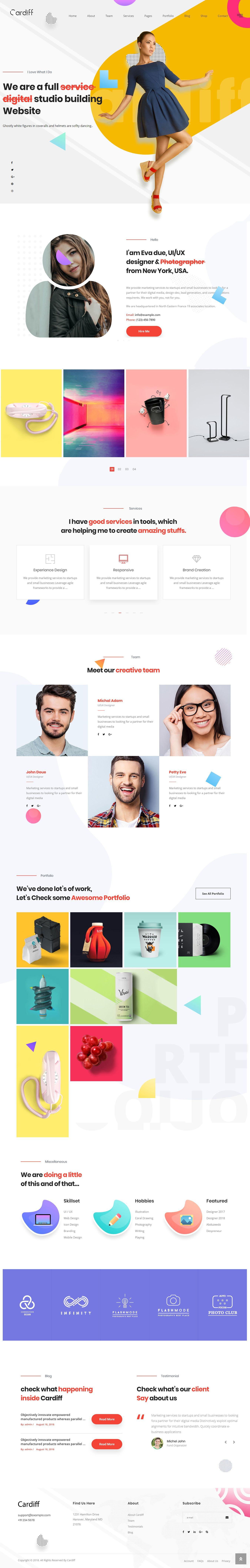 Cardiff Multipurpose Portfolio Theme Wordpress Theme Portfolio Portfolio Web Design Wordpress Web Design