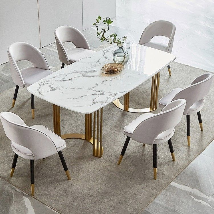 Faux Marble Dining Table Gold Dining Table Rectangular Stainless Steel Dining Table 6 Seat In 2021 Dining Table Marble Dining Table Gold Faux Marble Dining Table