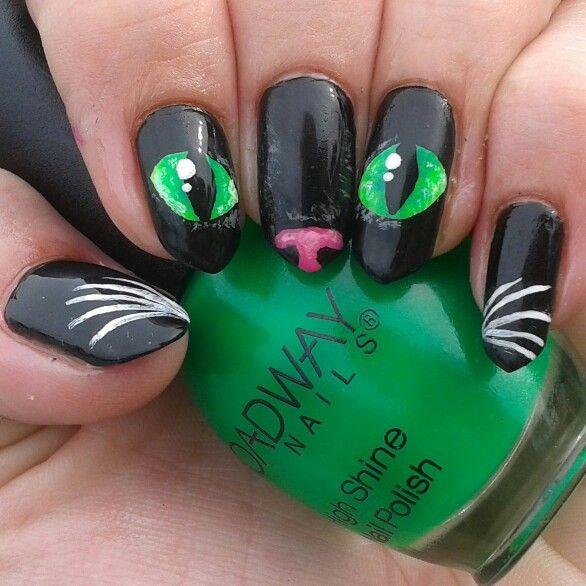 Halloween nails cat nail art cat eyes on my long natural ...