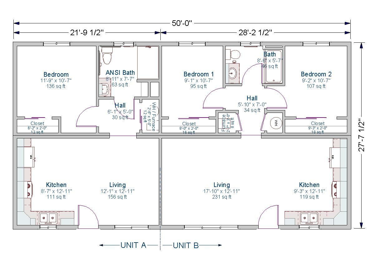 1 bedroom ansi unit 2 bedroom 1 202 834 pixels for One bedroom duplex plans