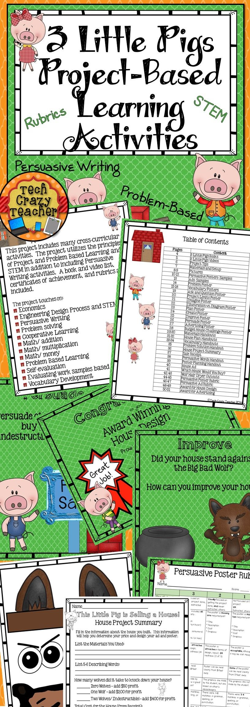 3 Little Pigs Project-Based Learning Activities: Persuasive writing, STEM, Problem-Based and Project Based learning all in one! Rubrics included $