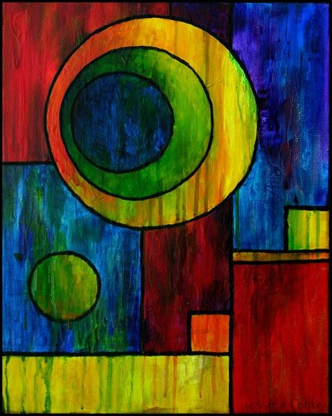 Circles Vs Squares Abstract Acrylic Painting 11 X 14 Print