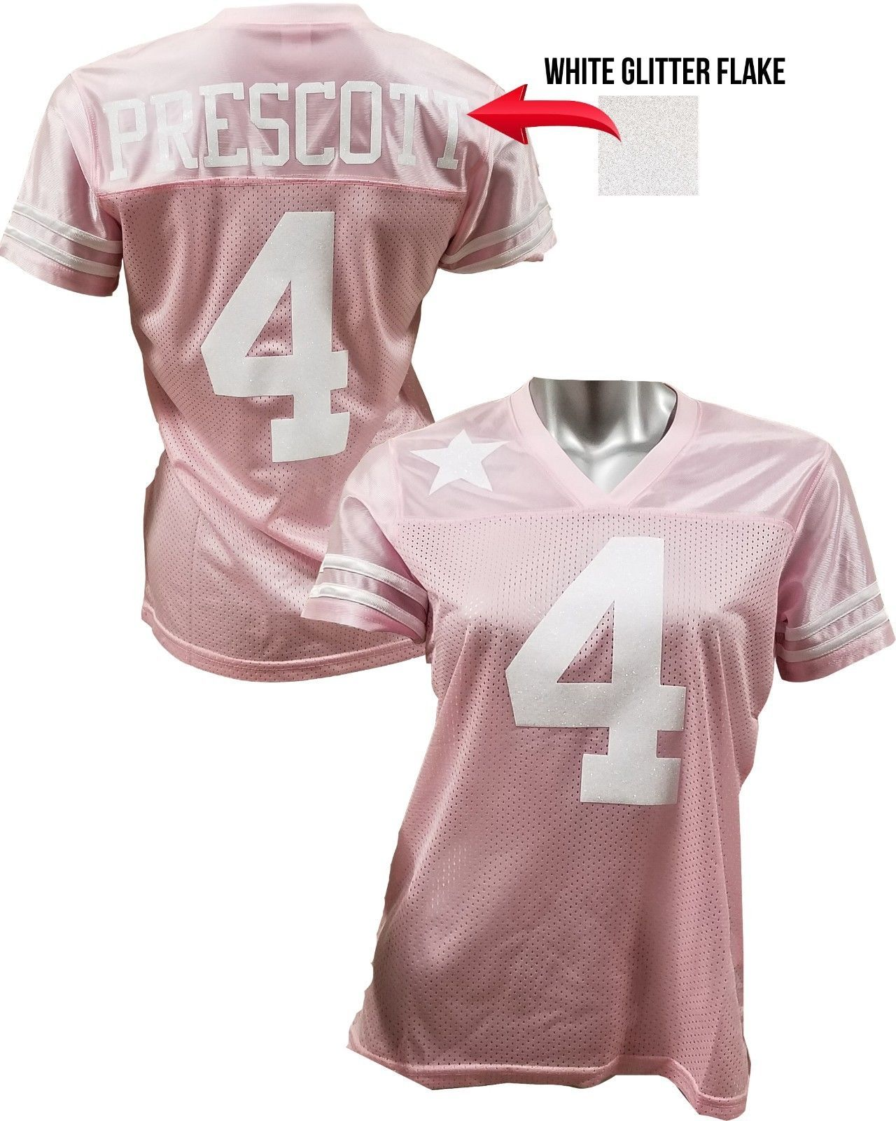check out 5009a 80465 Custom Womens Blinged Football PINK/White Jersey Dak ...