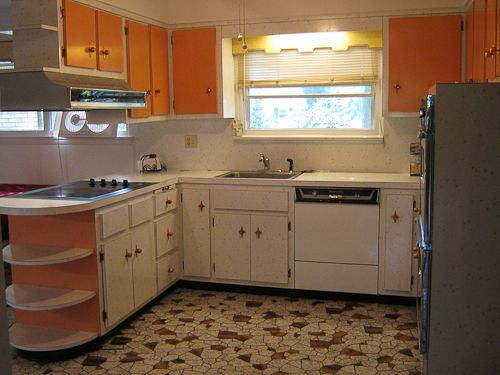 1960s Starburst White And Orange Laminate Kitchen Pretty Vacant