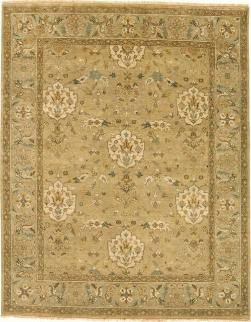 Rugstudio Presents Due Process Mirzapur Shield Beige Opal Hand Knotted Best Quality Area