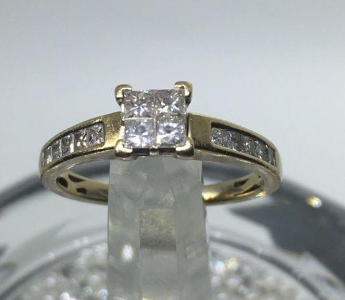 34 Carat Princess Cut Quad Diamond Engagement Wedding Ring 10k