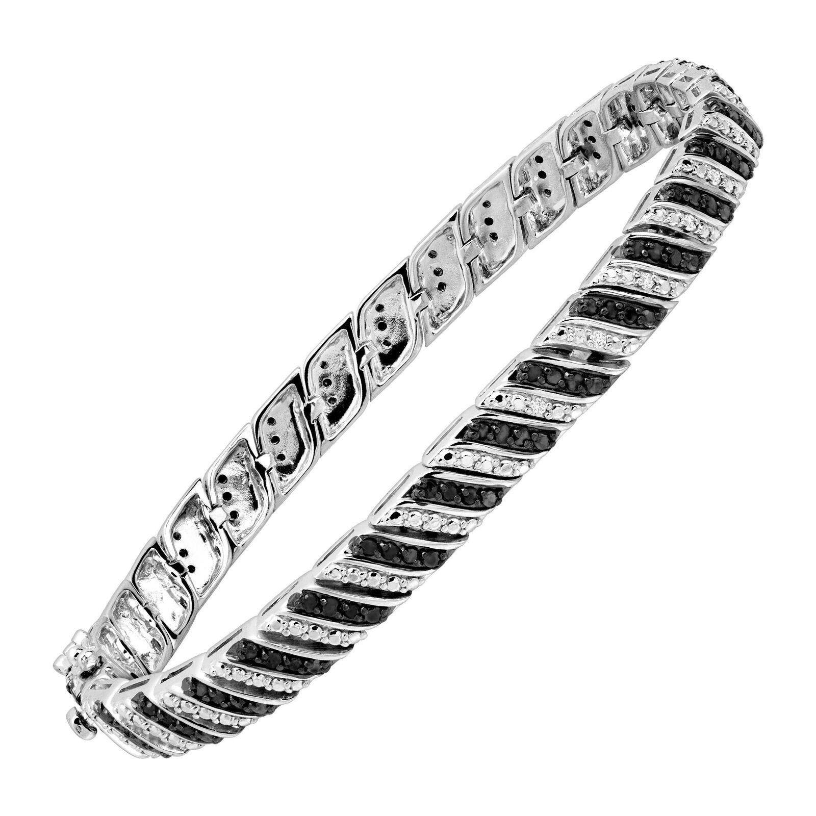 1 Ct Black White Diamond Tennis Bracelet In Sterling Silver Tennis Bracelet Diamond Black Diamond Bracelet Tennis Bracelet