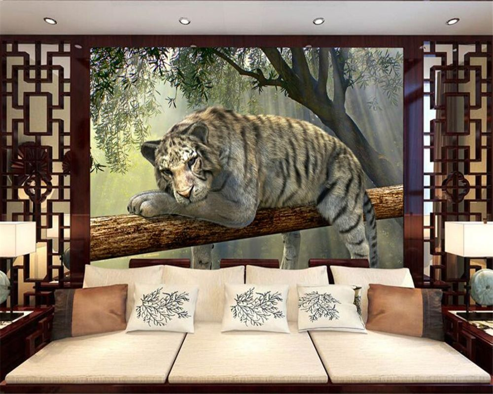 Beibehang Custom wallpaper 3d tiger outdoor landscape