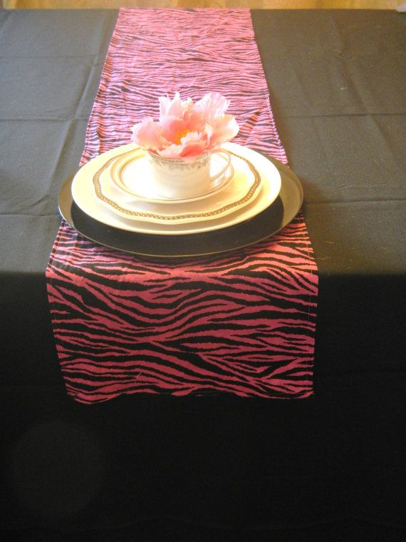 Animal Print Table Runner, Pink And Black Zebra Print, Bridal Shower, Baby  Shower, Party, Wedding, Home Decor, Custom Sizes