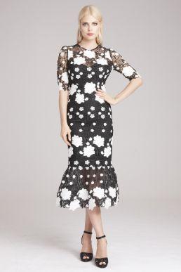5815b3867f Teri Jon by Rickie Freeman Floral Applique Sheath Dress with Ruffle Hem