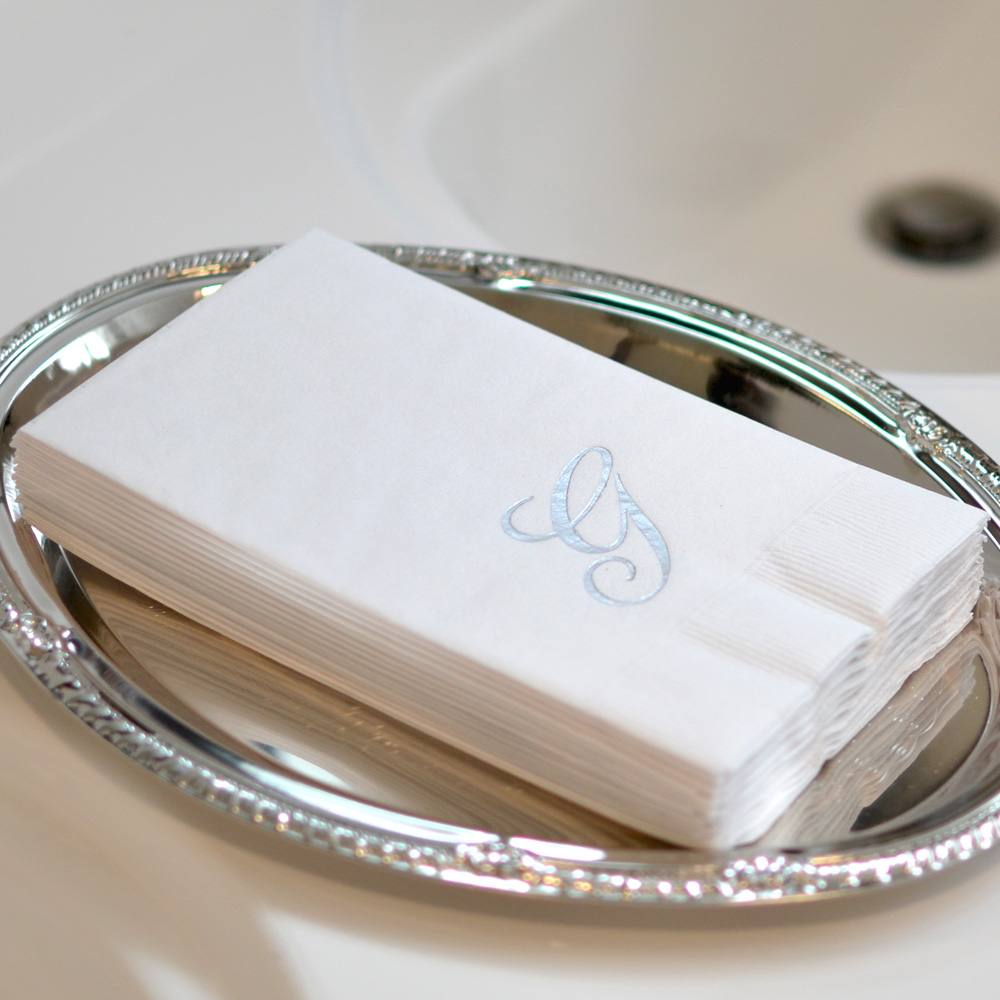 Monogram Initial White 3 Ply Guest Towels Set Of 15 In 2020