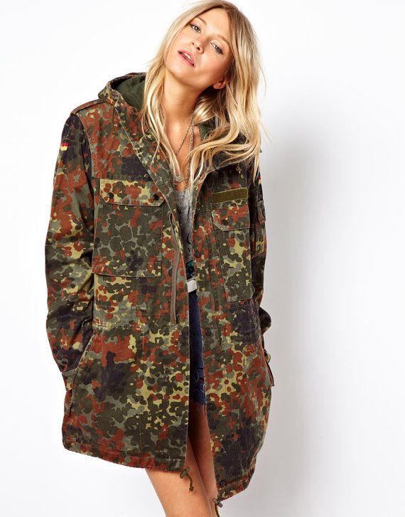 c7c7e4f6dba8ac Unissued women's Oversized German army camouflage parka camo retro ...