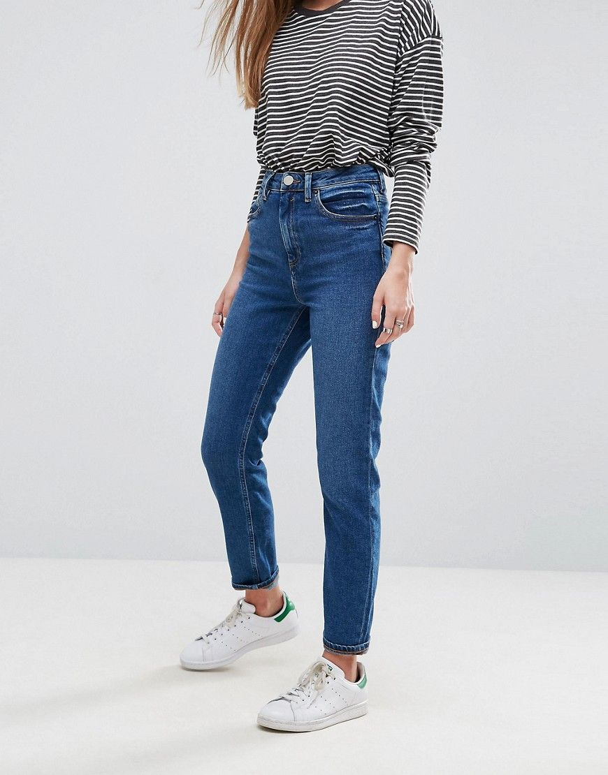3173c8f9110 DESIGN Farleigh high waisted slim mom jeans in dark wash in 2019 ...