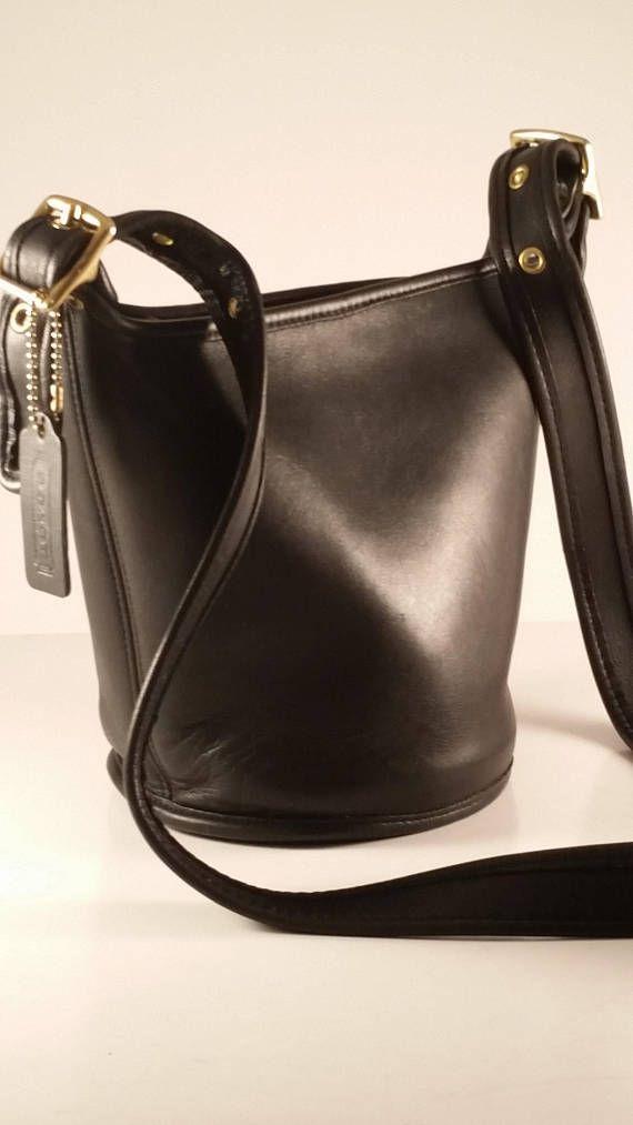 Vintage Coach Bucket Bag   Black Leather Maggie s Legacy Cross-body ... 1495c930e78d9