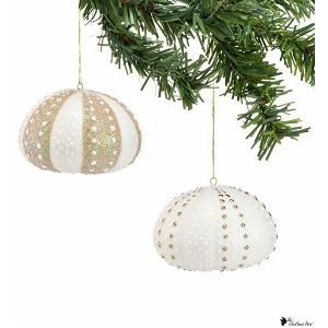 Gold Sea Urchin Ornament Fall Winter Celebrations Shell