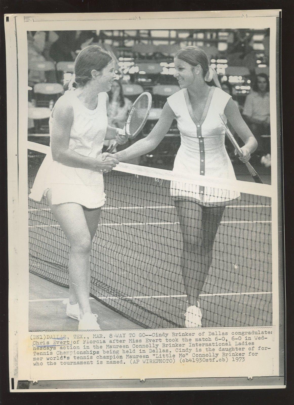 Original March 8 1973 Cindy Brinker & Chris Evert Tennis Wire Photo ...