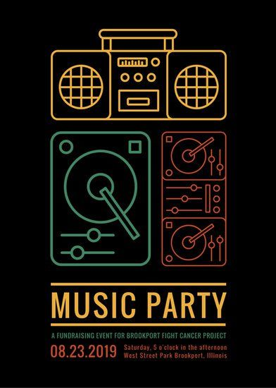 Music Party Fundraiser Flyer  Flyer  Poster