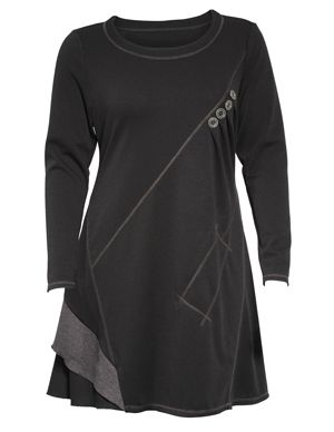 Kleid mit Knöpfen in Schwarz / Beere-Lila designed von Manon Baptiste in der Kategorie Kleider bei navabi.de