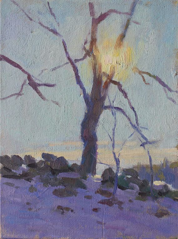 Original 6x8 Oil Painting Sun Through Bare Branches Winter Landscape Scene Old Stone Wall New England Field Rustic Art