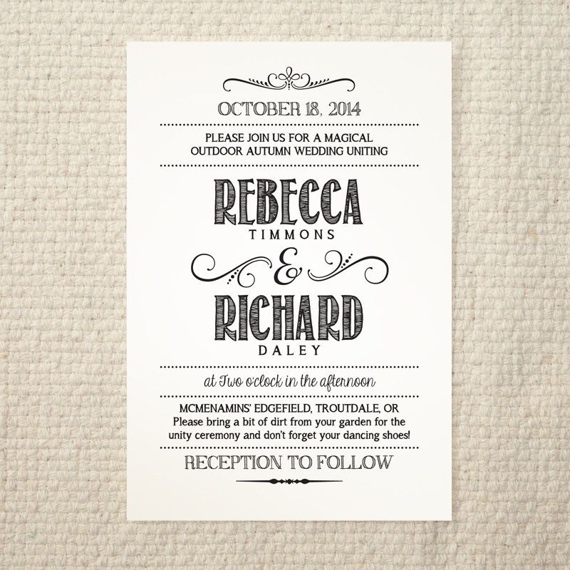 DIY Wedding Invitation - Handlettered Rustic Love - Printable PDF - free dinner invitation templates printable