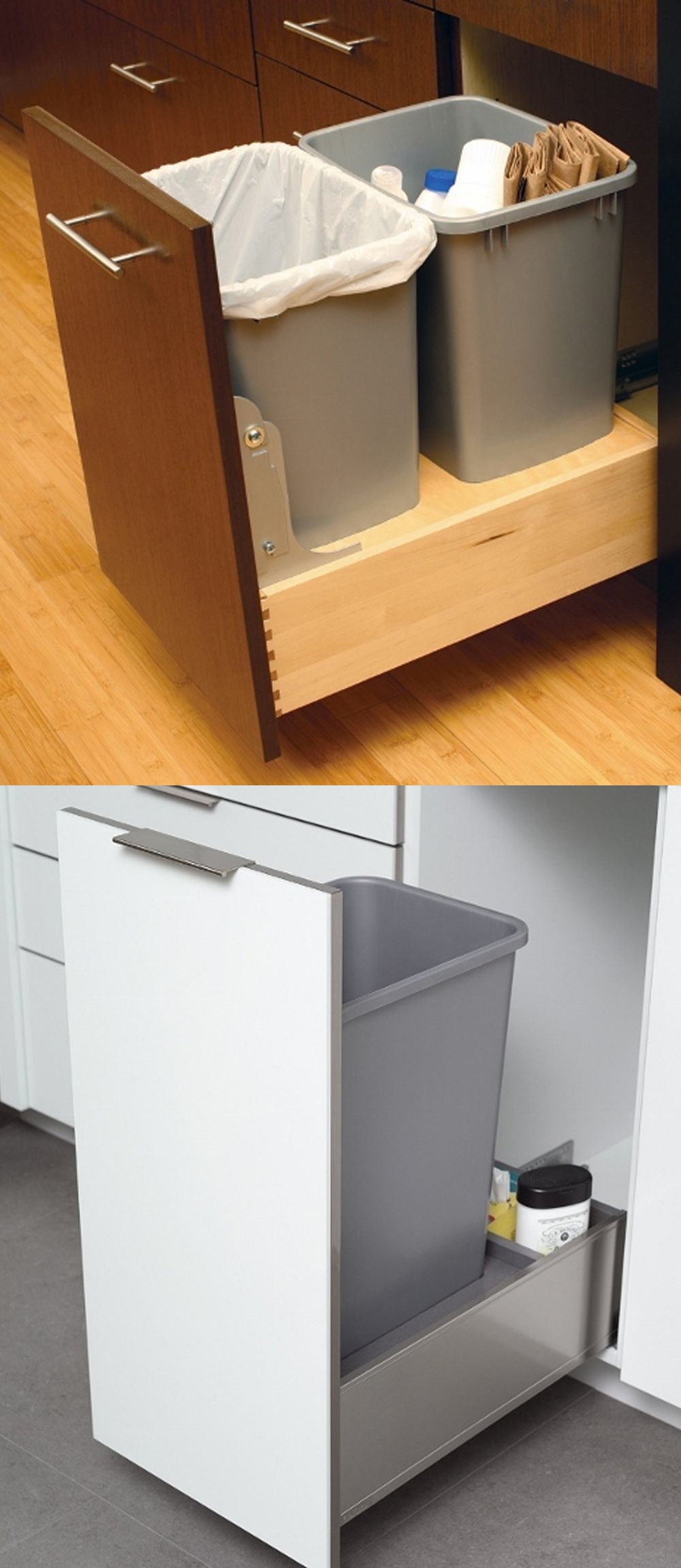 Hands Free Trash Recycling Cabinets A Simple Solution To A Messy Problem Kitchen Trash Cans Kitchen Bin Under Kitchen Sinks