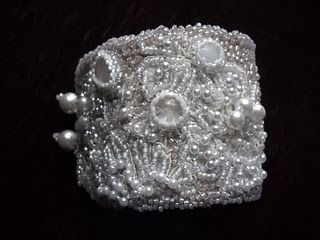 Antique Lace Bead Embroidered Cuff